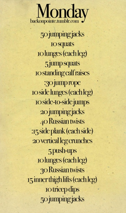 Monday workout